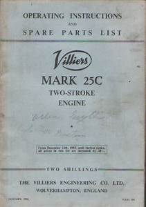 Villiers Mk 25c Two Stroke Engine Operators Manual With Parts List