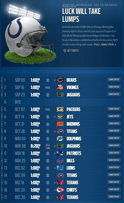 indianapolis colts schedule ideas  pinterest
