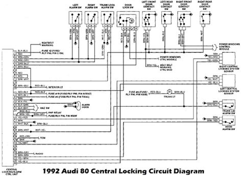 1993 Audi 100 Wiring Diagram by 1992 Audi 80 Lock And Alarm Unit Wiring Diagram