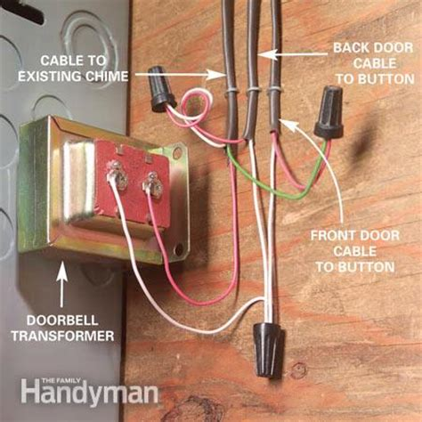how to install a doorbell with transformer side of adding a second doorbell chime the family handyman
