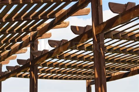 the roof of a street cafe made from wooden slats colourbox