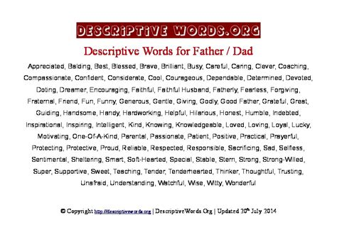 descriptive words  father dad descriptive words