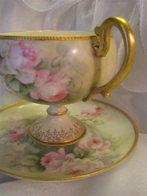 elegant antique footed willets belleek cup  saucer