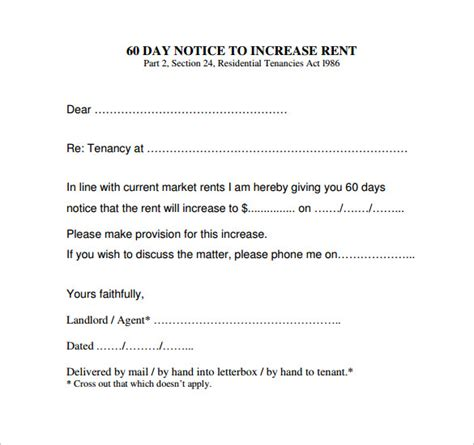 sample rent increase notice templates   ms