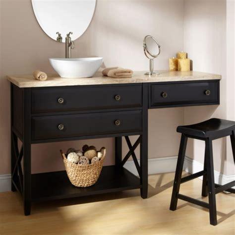 bathroom brown wooden bathroom vanity with makeup table with sink and grey granite