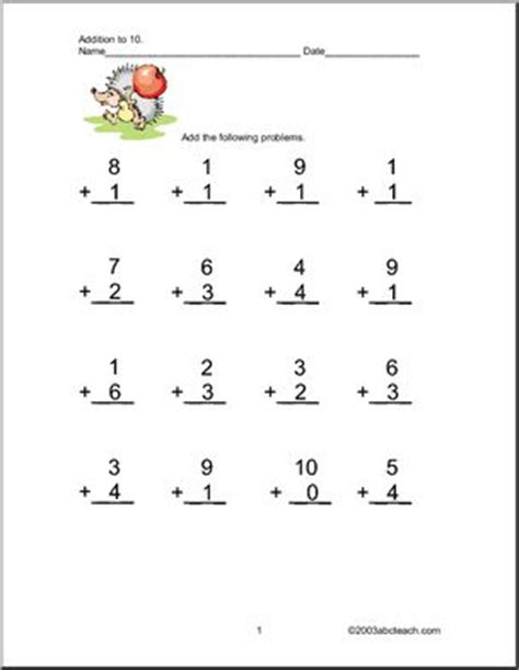 addition    worksheets abcteach