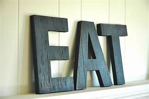 eat wall art large letters handmade wood sign by shophomegrown With large letter wall art