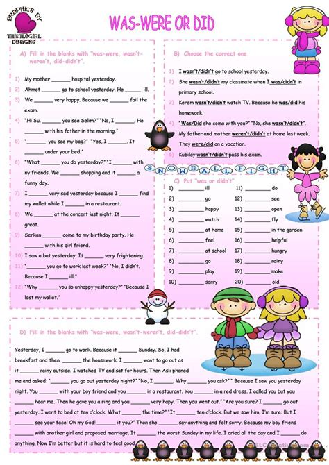 was and were worksheets goodsnyc