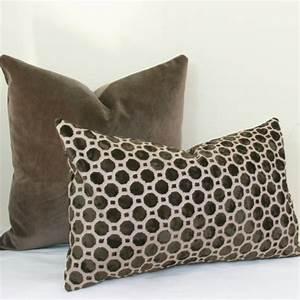 brown geo velvet pillow cover brown lumbar pillow 12x20 With brown velvet lumbar pillow