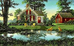 House Shed Dogs Pond Nature wallpapers