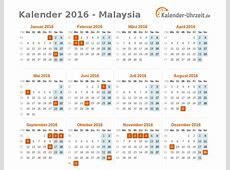 Feiertage 2016 Malaysia Kalender & Übersicht