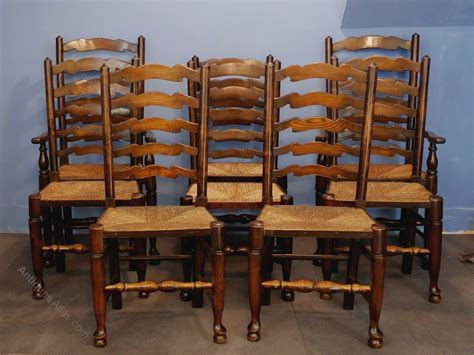 vintage dining chairs set of eight ladderback dining room chairs antiques atlas 3185