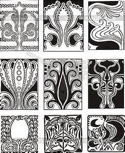 Jugendstil Florale Ornamente : art nouveau simple ornaments vector clip art ~ Orissabook.com Haus und Dekorationen
