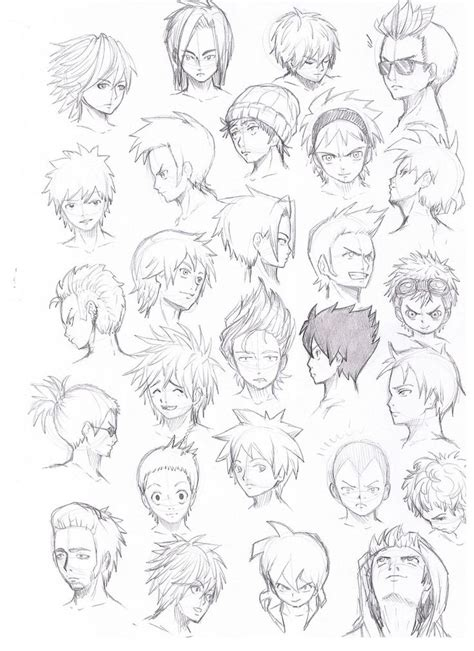 Cool Anime Hairstyles by Anime Hairstyles Search Drawing Flow
