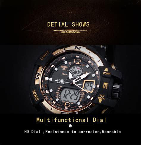 jam tangan anti air berkualitas smael jam tangan digital masculino 1376 backup black