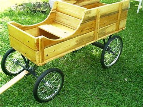 amish handcrafted custom  oak  seater wagon pony