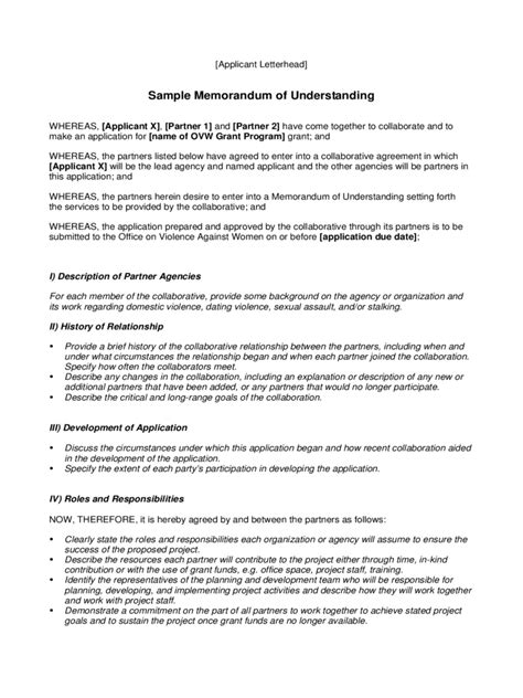 basic memorandum of understanding template memorandum of understanding 6 free templates in pdf