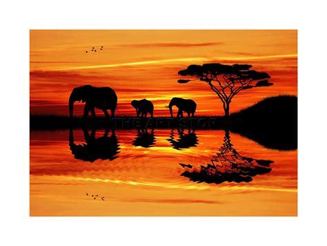 elephant silhouette sunset painting photo elephant silhouette sunset framed print