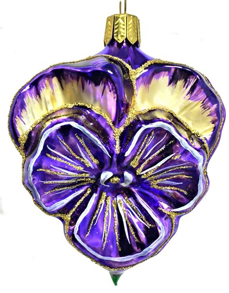 purple and gold pansy flower german glass christmas tree