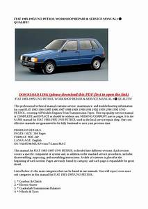 Fiat 1983 1995 Uno Petrol Workshop Repair  U0026 Service Manual