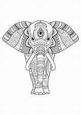 Elephant Coloring Pages Elephants Patterns Simple Print Adult Adults Mandala Decorated Printable Easy Animal Justcolor Simply Animals Gifts Detailed Flower sketch template
