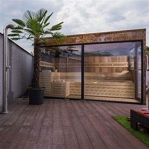 Sauna Mit Glasfront : outdoor sauna edelrost ii optirelax ~ Orissabook.com Haus und Dekorationen