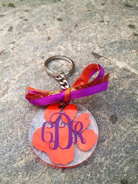 personalized monogrammed acrylic clemson keychain   etsy  acrylic keychains