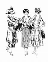 Coloring 1920s Early Adult Related Classic Fashions Sassy Young Twenties Myria Inside sketch template