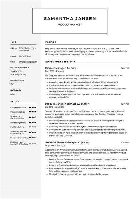 The writer also lists core competencies below. Product Manager Resume Resume  + 12 Samples  | PDF | 2019