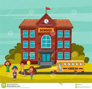 Back To School. Children On The Yard. Cartoon Vector ...