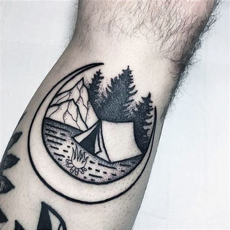 tent tattoo designs  men great outdoors ink ideas