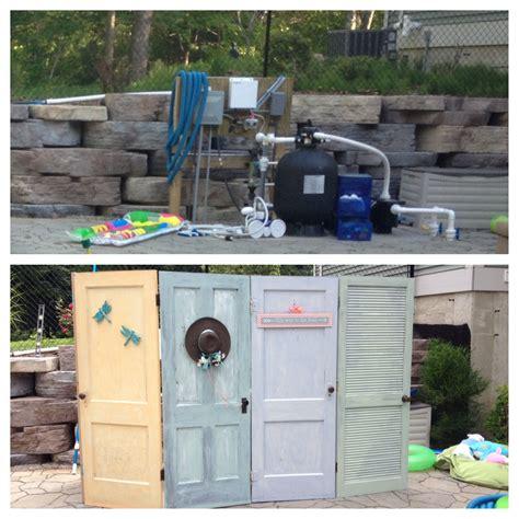 hide pool equipment old doors as an outdoor screen to hide the pool equipment for the home pinterest pool