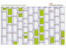 Ferien MeckPomm 2015 Ferienkalender zum Ausdrucken
