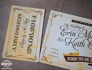 vintage ticket wedding invites wedfest With wedding invitations tear and send