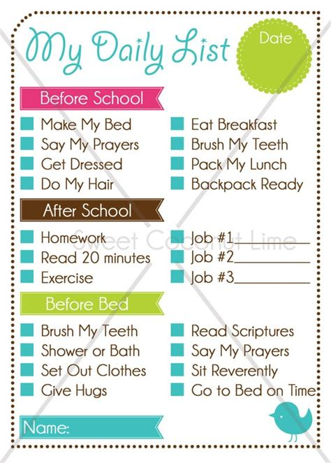 kids editable daily list  chore chart instant
