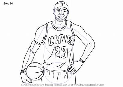 Lebron James Draw Drawing Step Coloring Nba