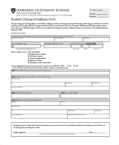 change  address forms   word