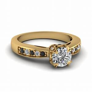 14k yellow gold black diamond fascinating diamonds With halo wedding rings for women