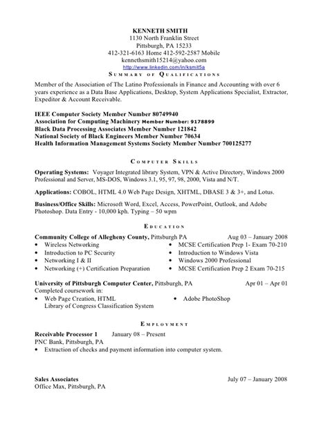 Association Memberships On Resume by Kenneth Smith Resume Httptwitter Comksmit5a Ieee Computer
