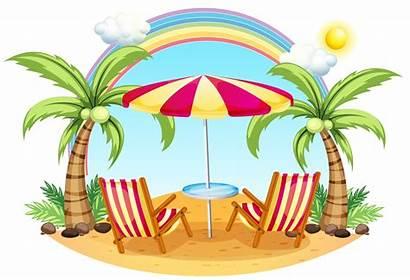 Umbrella Beach Chairs Background Summer Vector Seashore