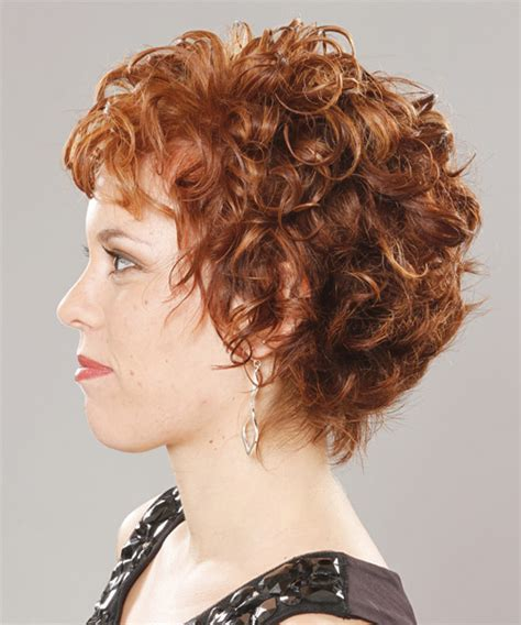 short curly ginger hairstyle  layered bangs
