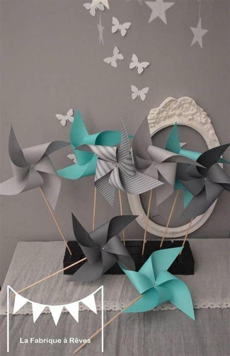 chambre garcon gris dispo 10 moulins à vent turquoise et gris décoration