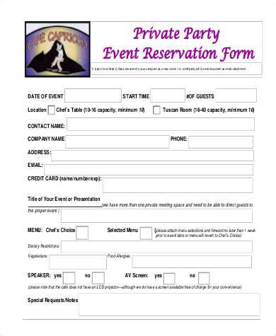 reservation form