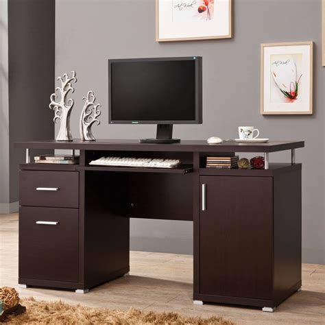 contemporary cappuccino computer desk coaster 800107
