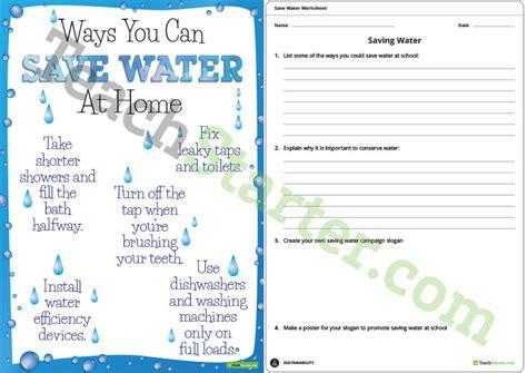 saving water fact sheet and worksheet teaching resource
