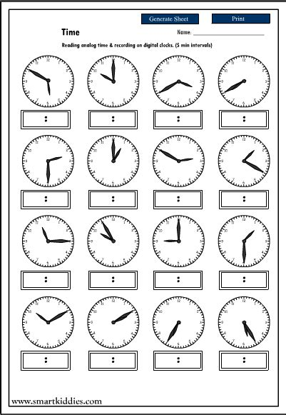 telling time to the 5 minute worksheets worksheets for all