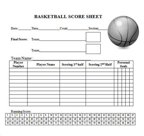 Blank Basketball Score Sheet New Calendar Template Site