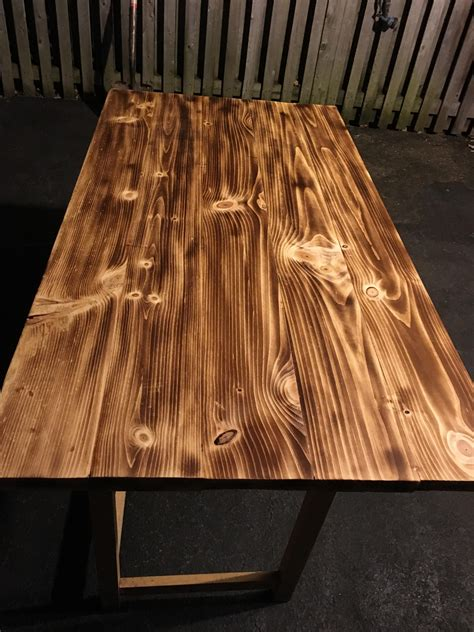 pine wood burnt table top   post
