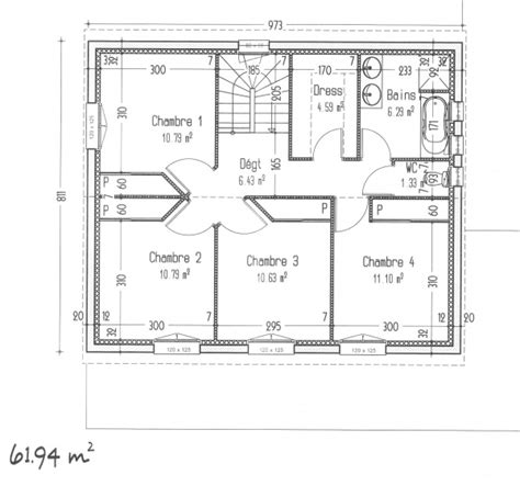 plan maison etage 2 chambres plan maison 4 chambres avec etage