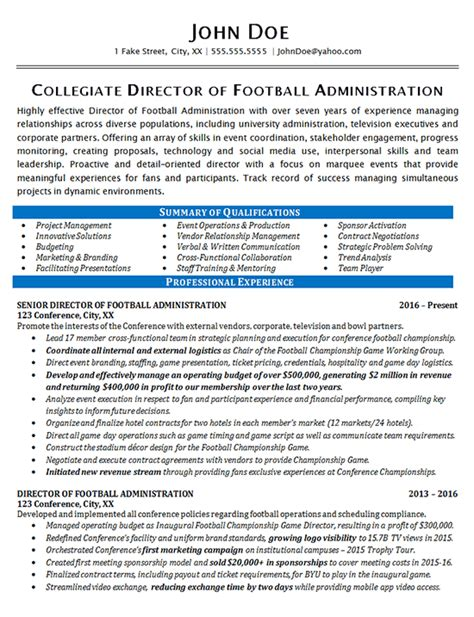 sample athletic resumes 7 athletic director resumes free samples examples athletic